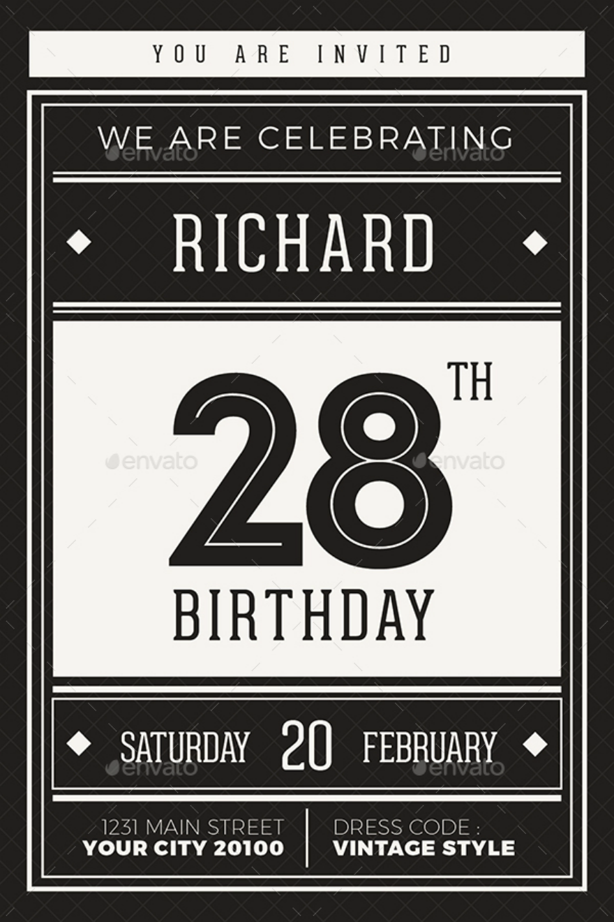 Hipster Birthday Invitation Card