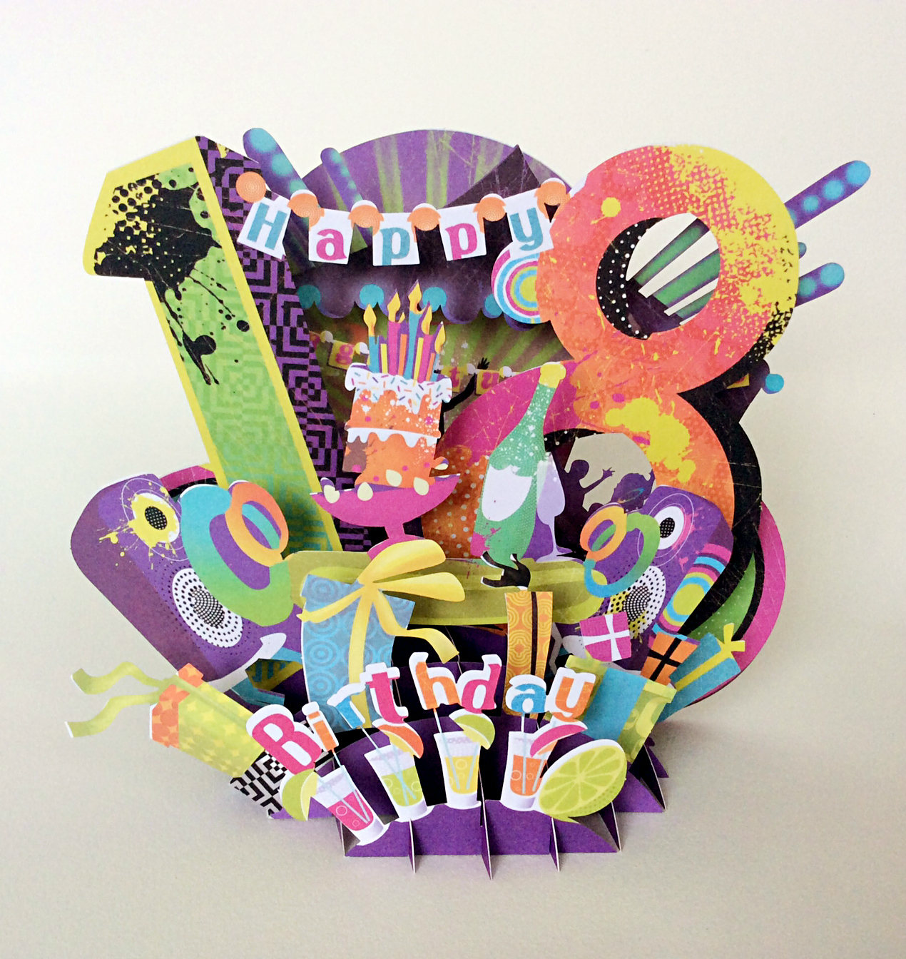 Intricately Cut 18th Birthday Popup Card