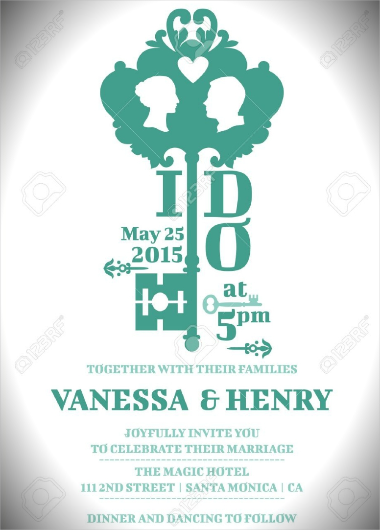 Key Couple Negative Space Wedding Invitation