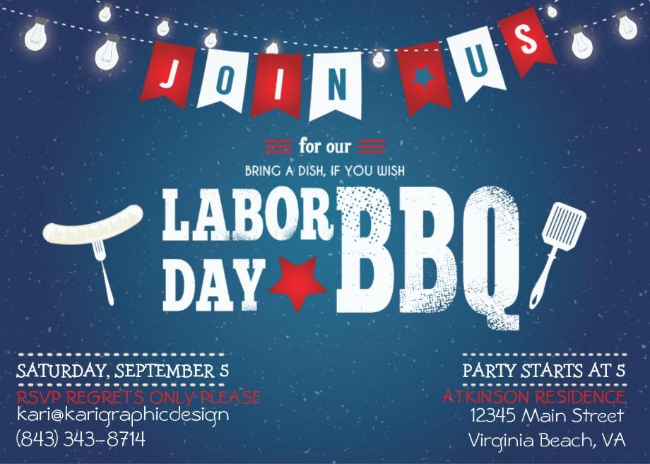labor day bbq night party invitation