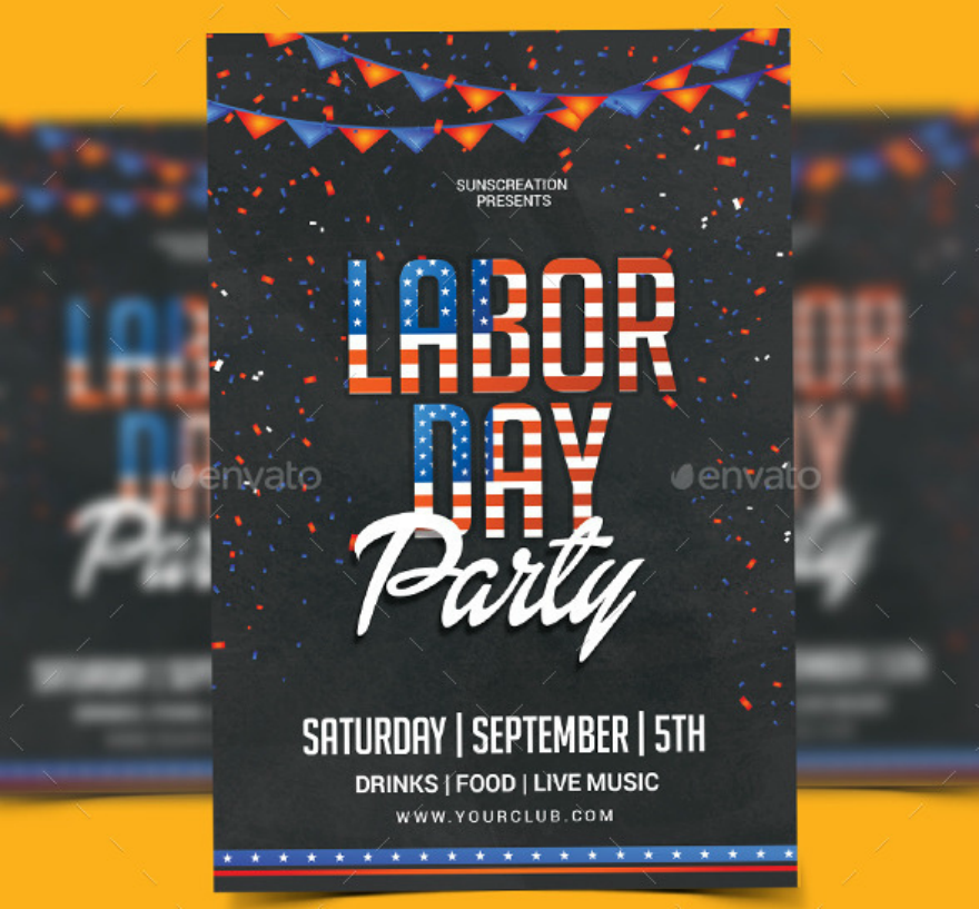 labor day celebration party flyer template