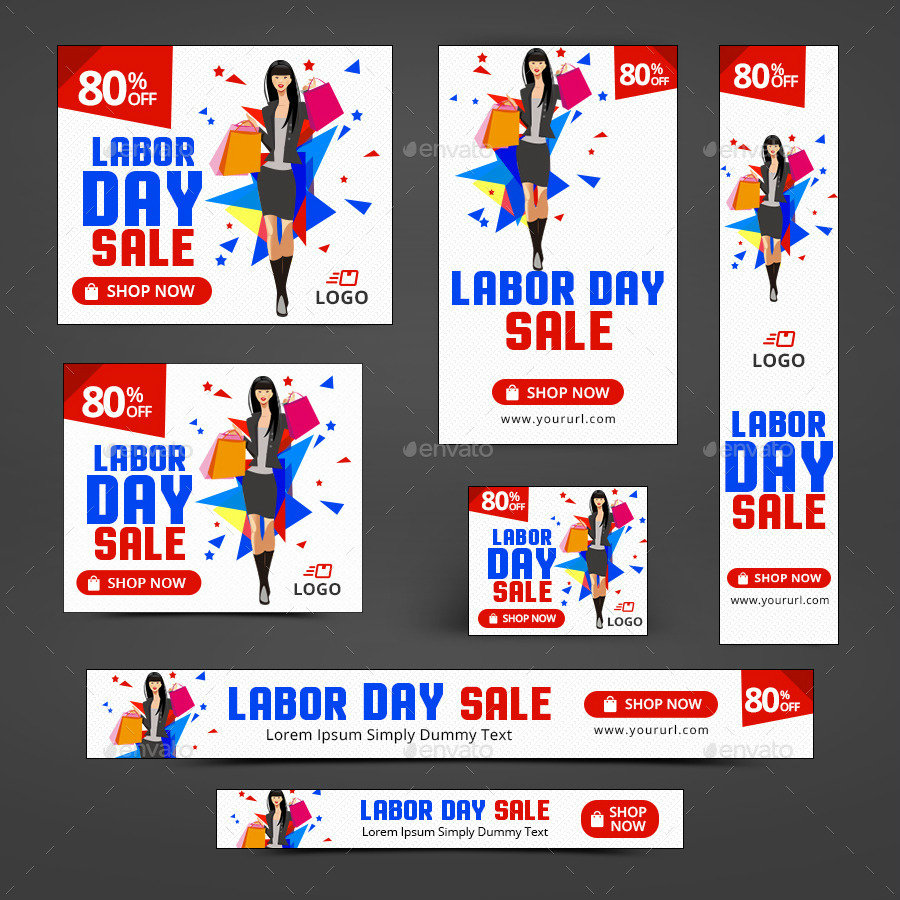 labor day sale banner set template