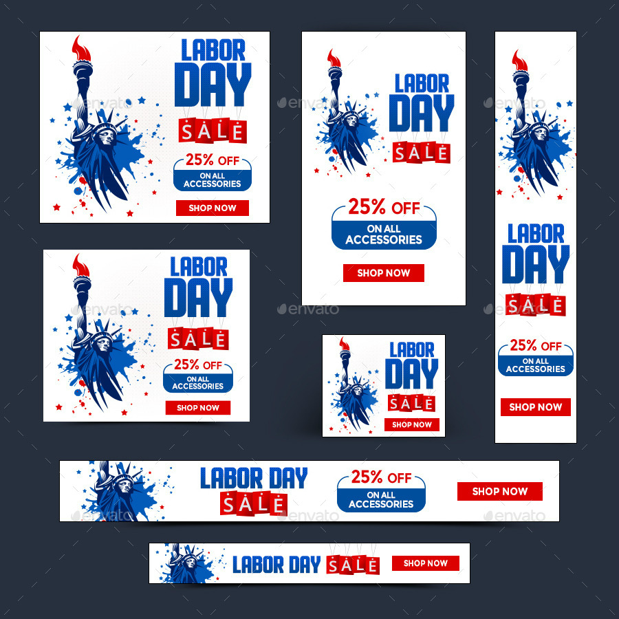 lady liberty labor day sale banner