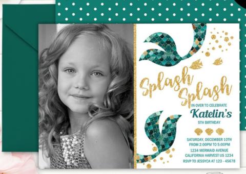 Mermaid Girl Birthday Invitation