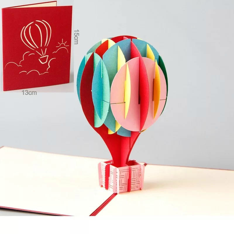 Multi-Coloured Hot Air Balloon Pop Up Card