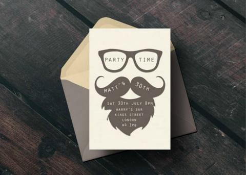 Mustache Invitation Card Design