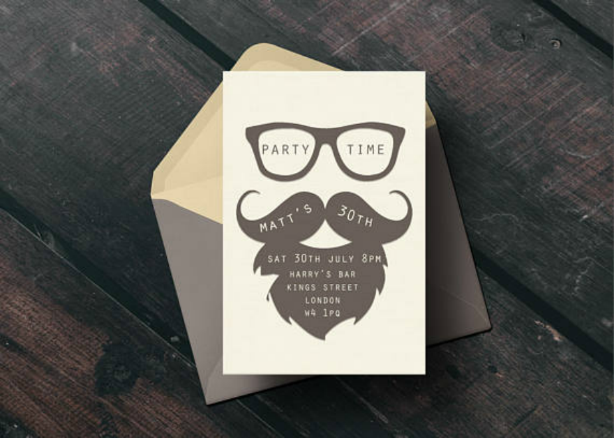 Mustache Invitation Card Design