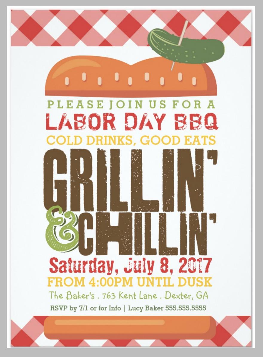 pastel labor day bbq invitation