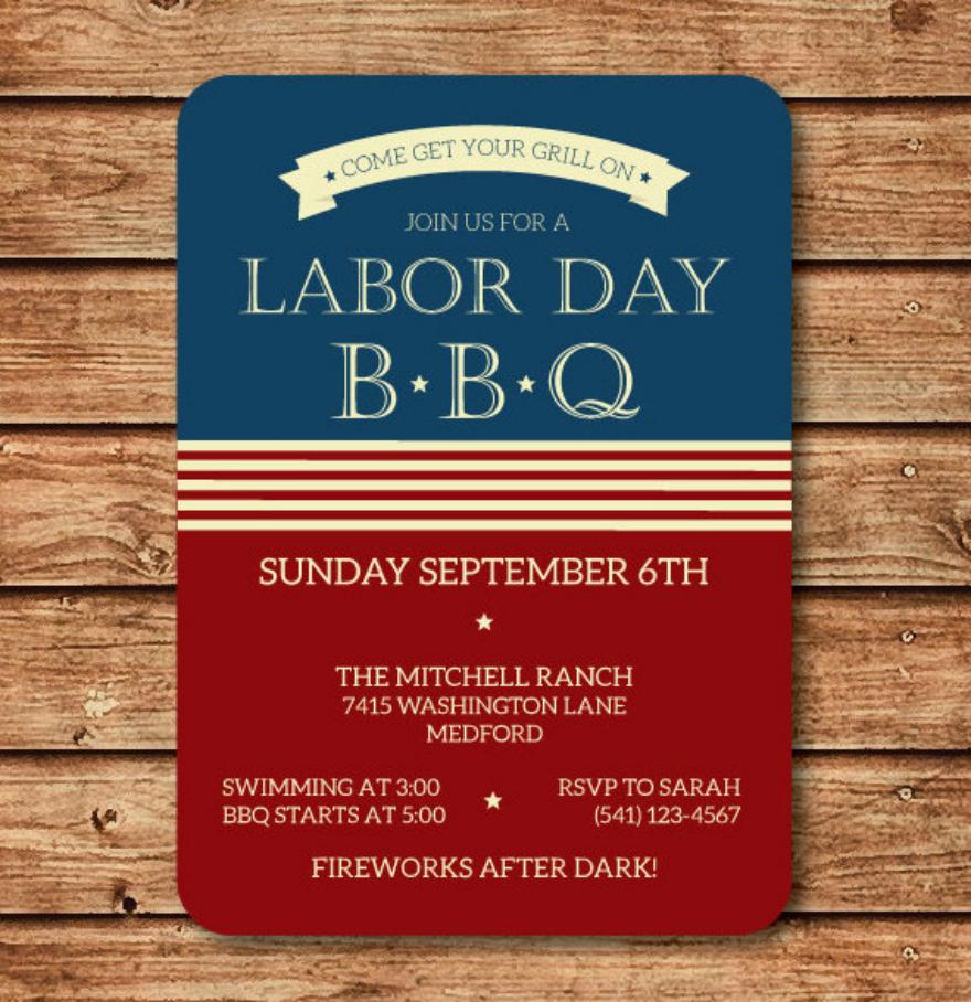 patriotic labor day bbq invitation card