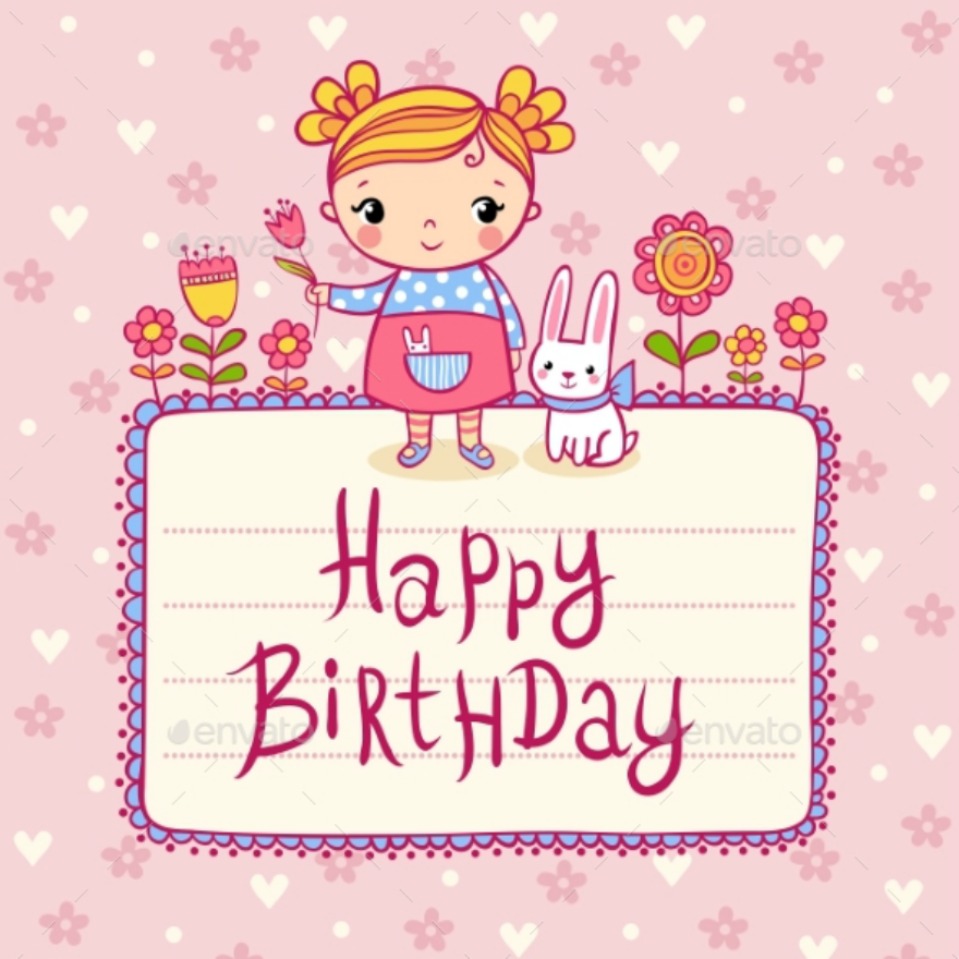pink birthday greeting card