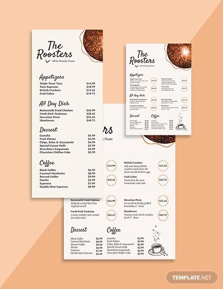 restaurant menu card template