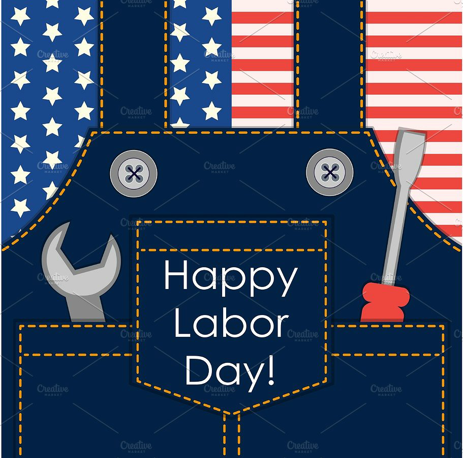 Retro Labor Day Greeting Card