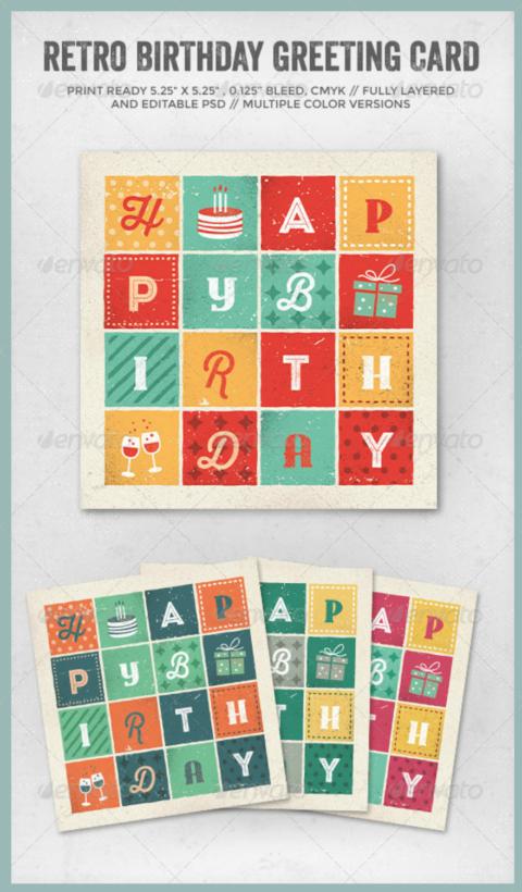 Retro Letters Birthday Card Psd