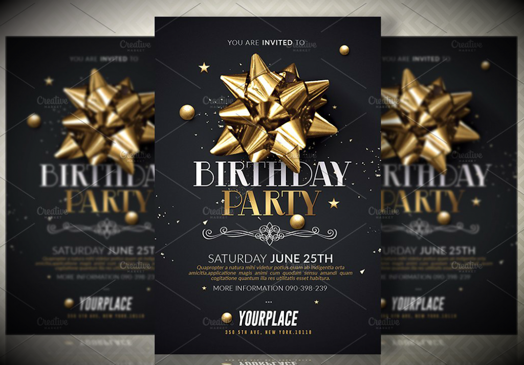 Ribbon Birthday Party Invitation Card