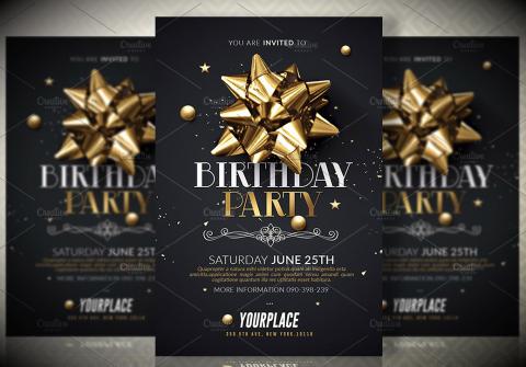 Ribbon Birthday Party Invitation Card