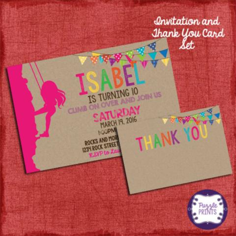 Rock Cllimbing Birthday Invitation Card Design