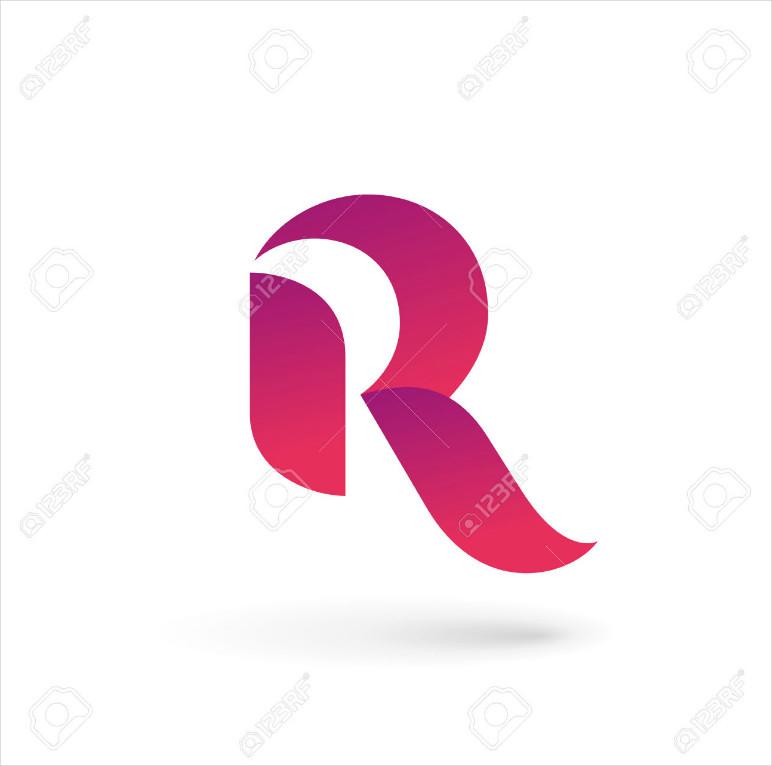 Rounded Pink Letter R Logo Design