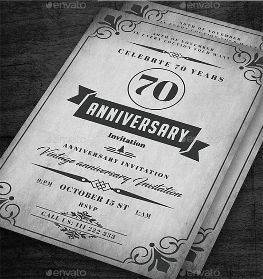 rustic anniversary invitation card
