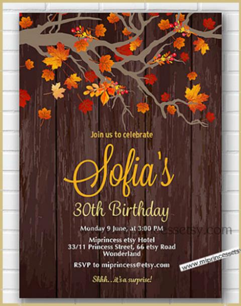 Rustic Fall Birthday Invitation