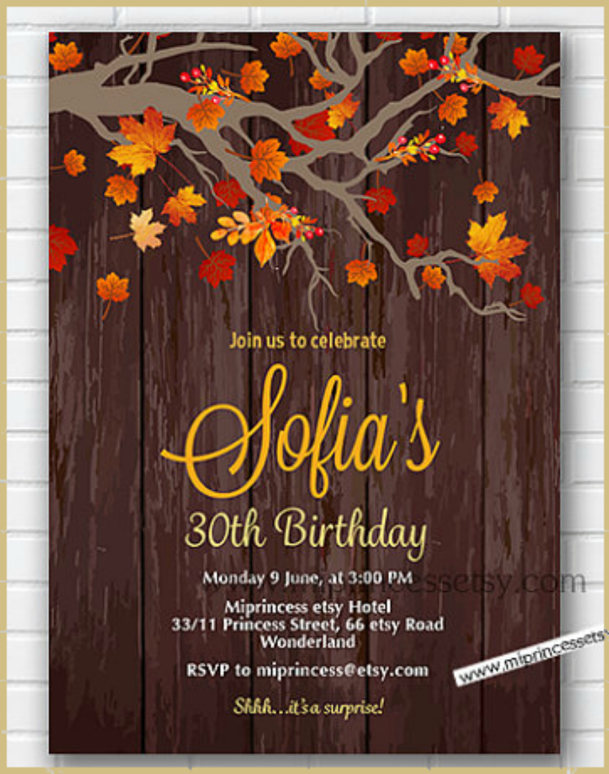 Rustic Fall Birthday Invitation