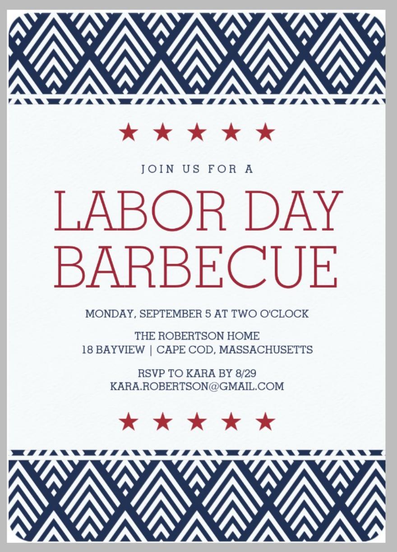 simple labor day barbecue party invitation