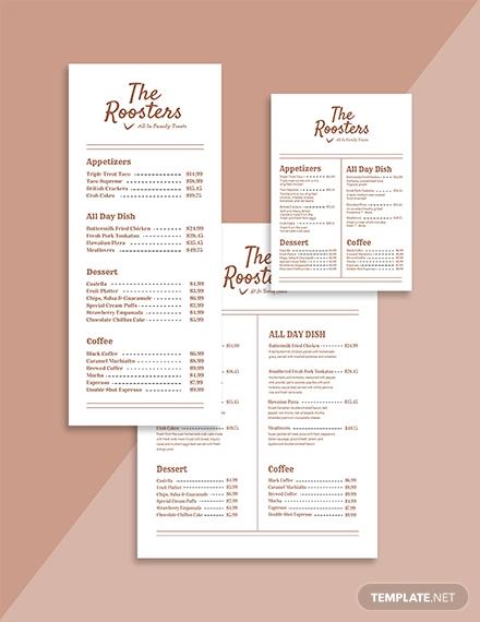 simple menu card template