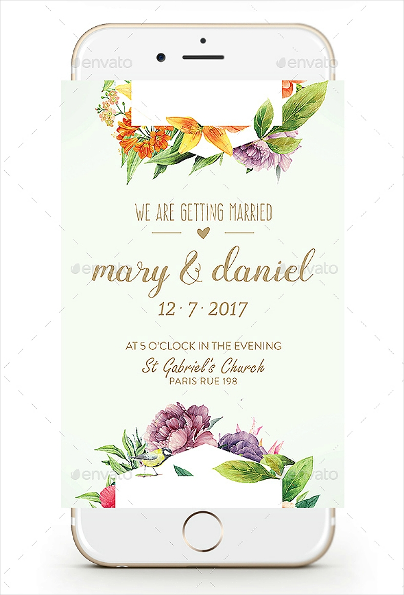 Smartphone-Themed Floral Wedding Invitation