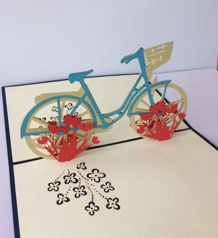 Tulip Bike Pop Up Greeting Card