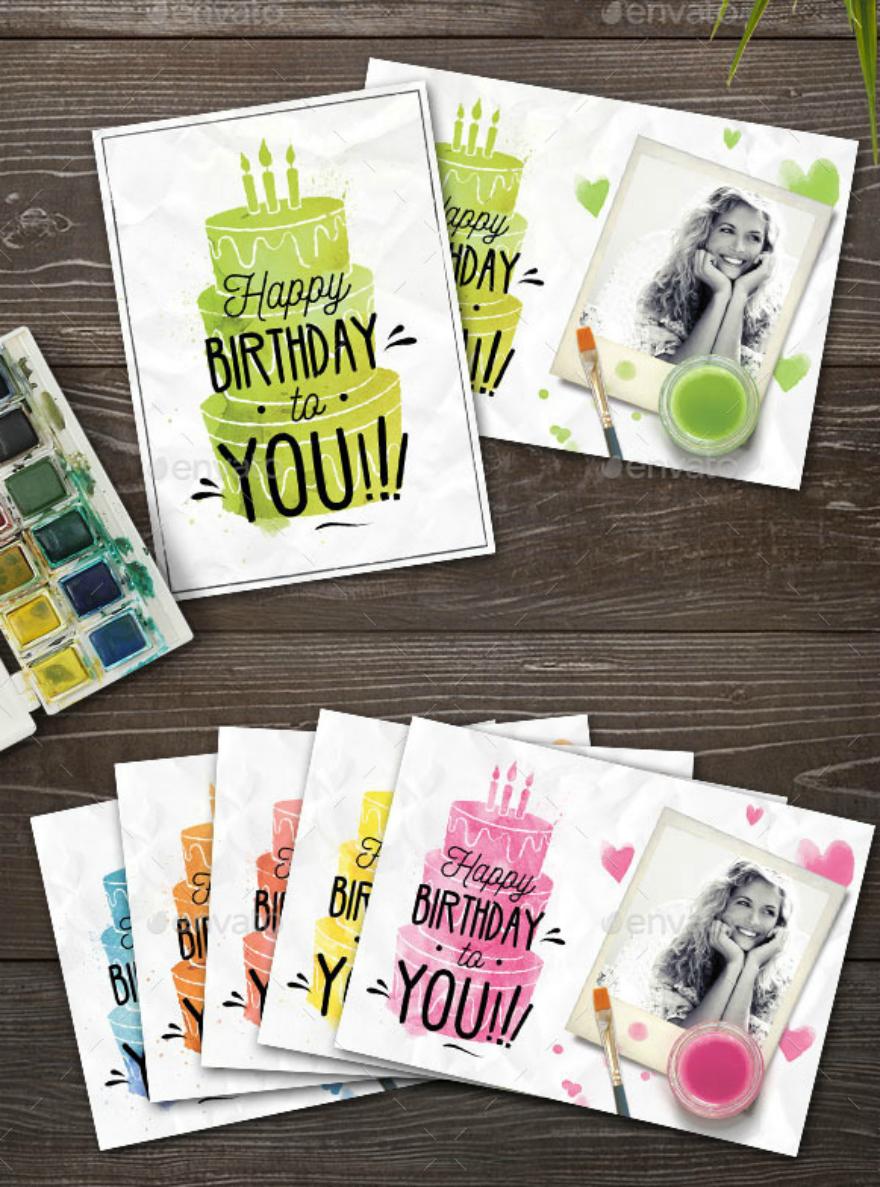 watercolor birthday card psd