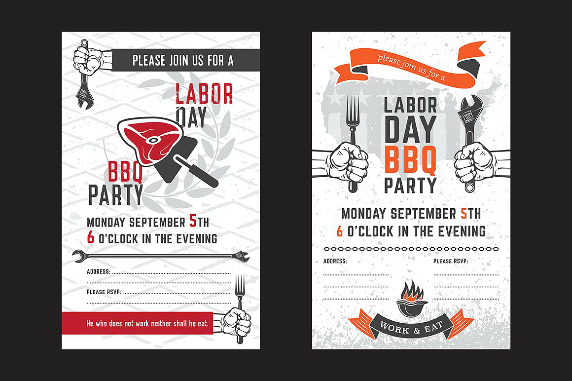 workers labor day bbq invitation