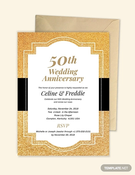 50th wedding anniversary invitation design