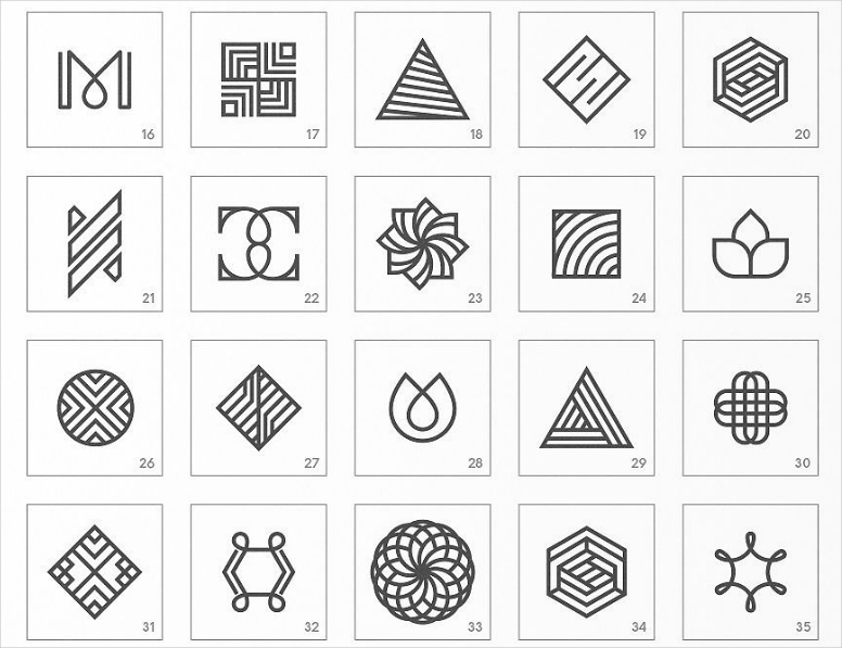 Abstract Geometric Shapes Minimal Logo Designs