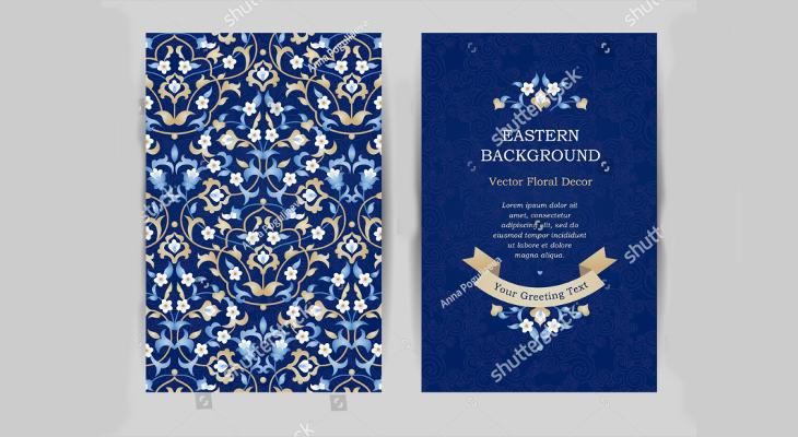 blue floral greeting card design