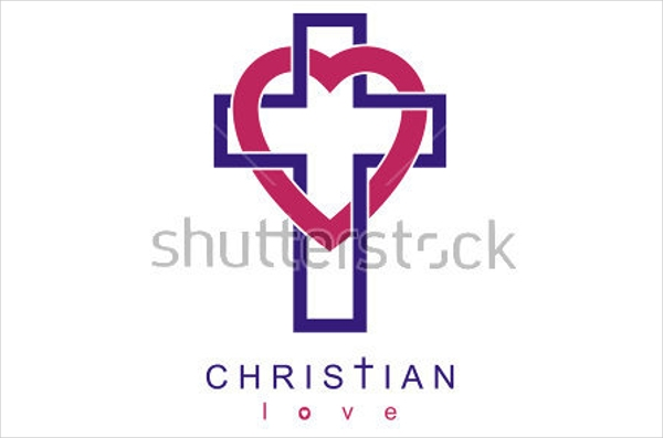 christian love cross heart church logo