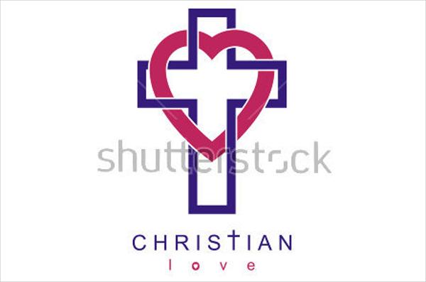 Christian Love Cross Heart Church Logo