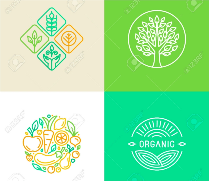 colorful linear farming logo design