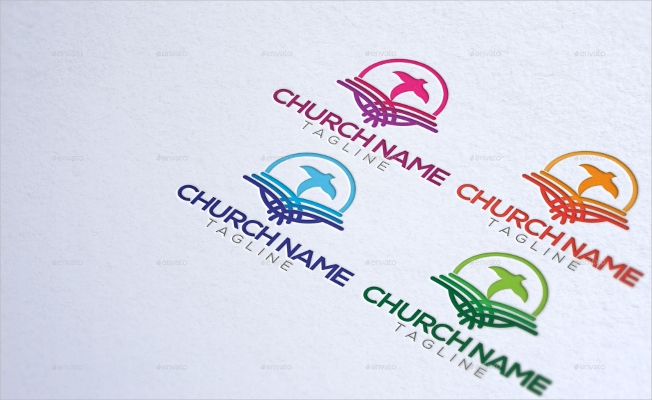 colorful open bible church logo design