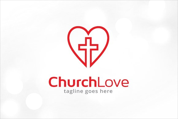 cross heart illustration church logo