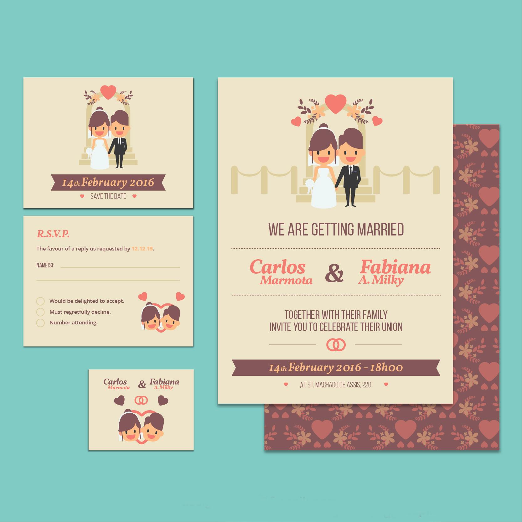 cute marriage invitation template