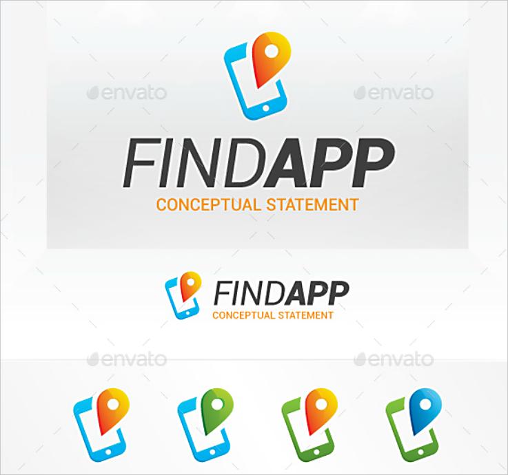 Find App Mobile Flat Logo Design