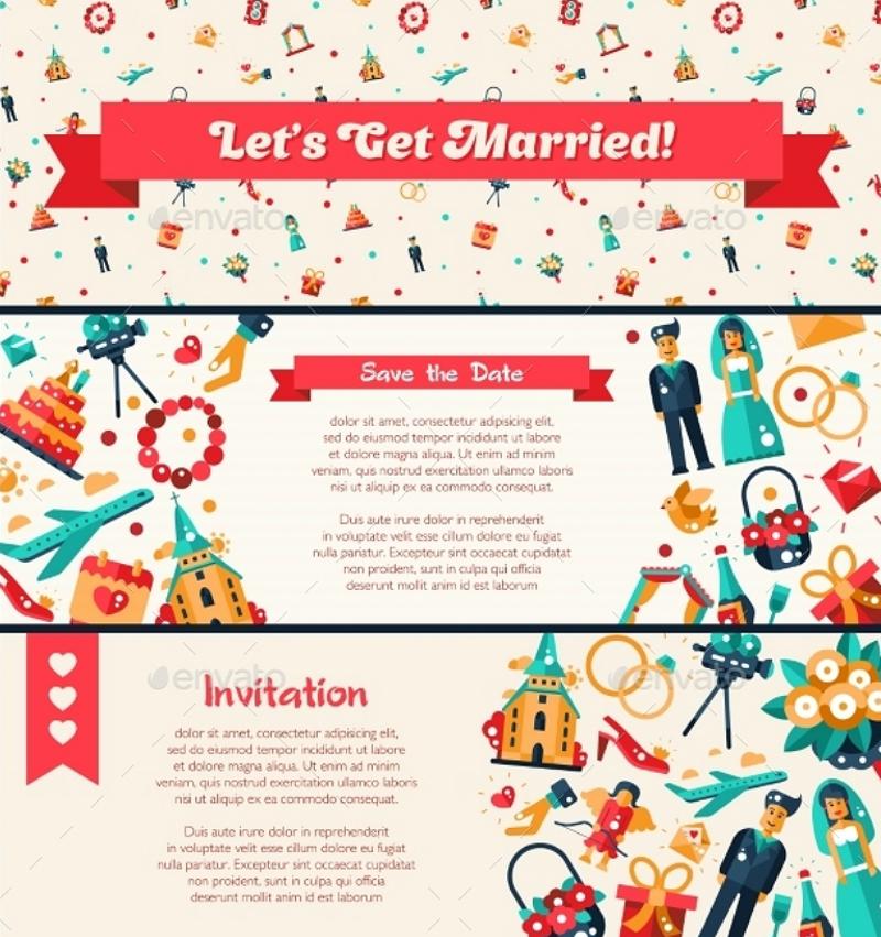 Flat Design Three Boxes Marriage Invitation