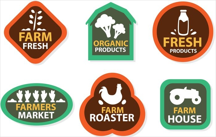 flat emblem style vector farming logos