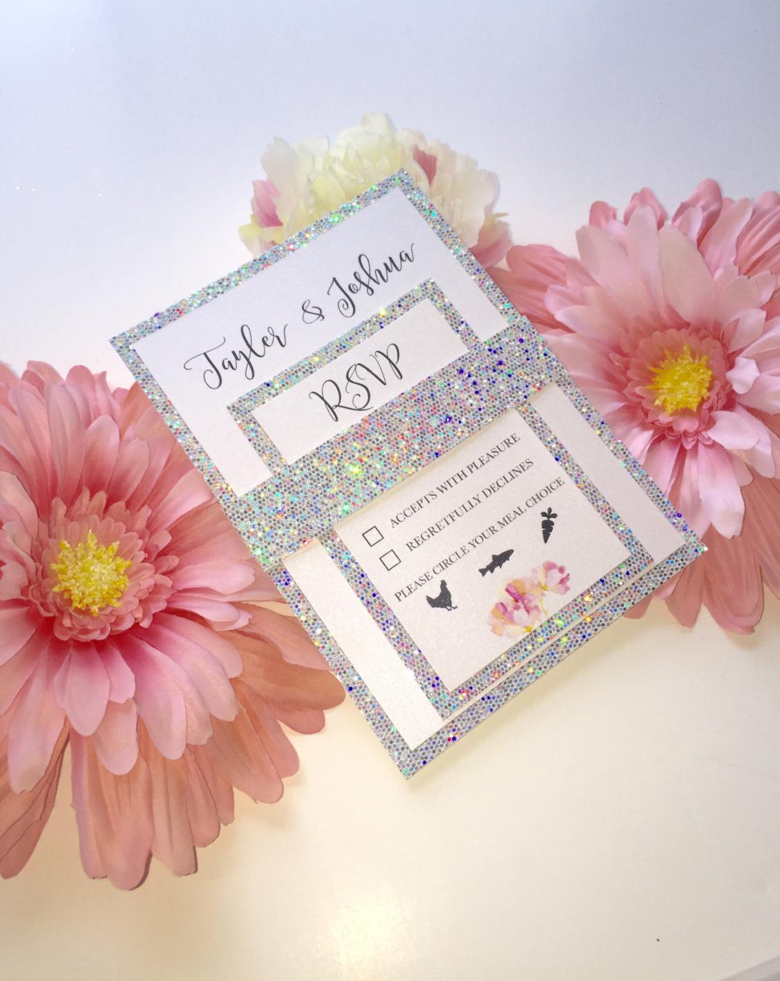 glitter marriage invitation