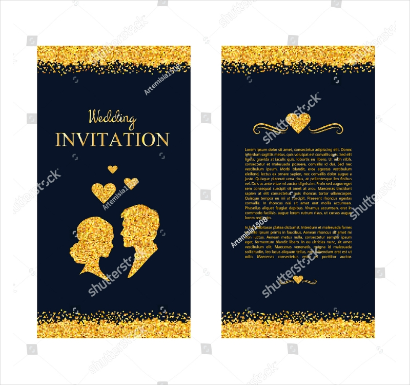 golden sparkles marriage invitation design
