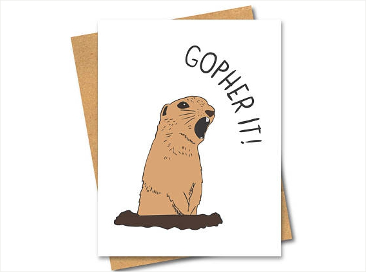 gopher pun greeting card design