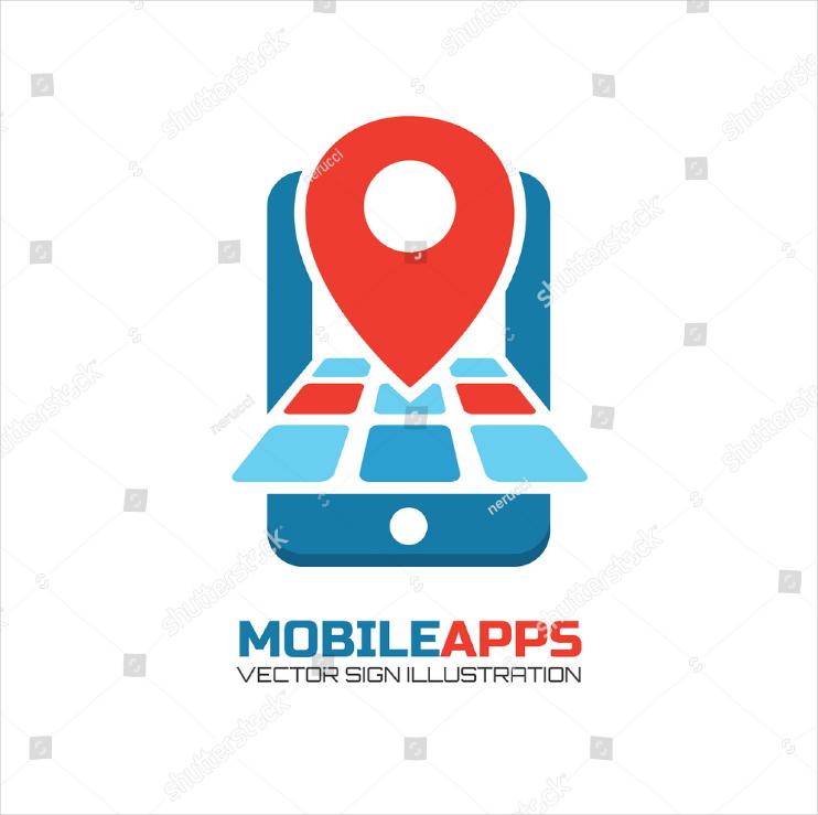 Map Location Mobile App Logo Design
