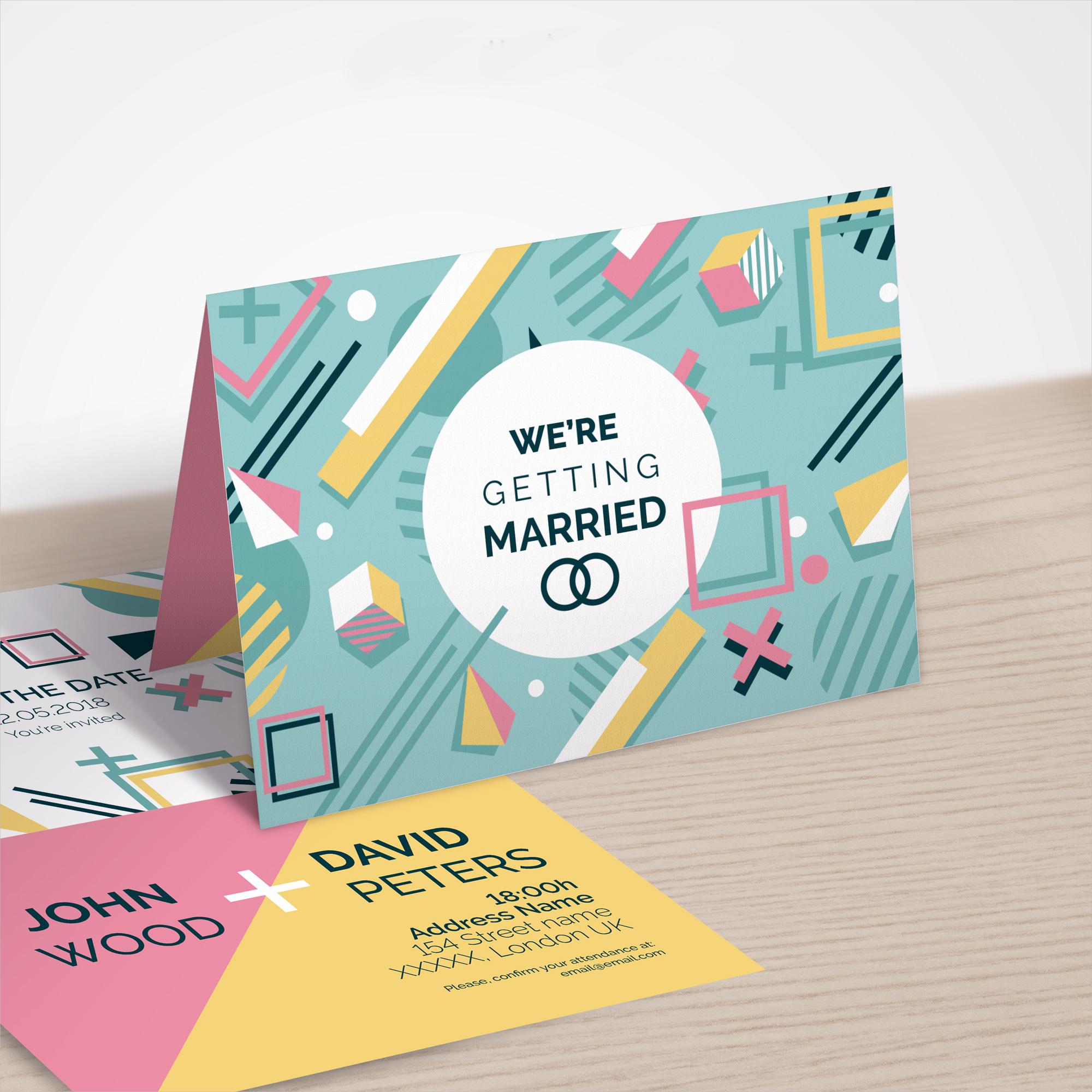 memphis style marriage invitation design