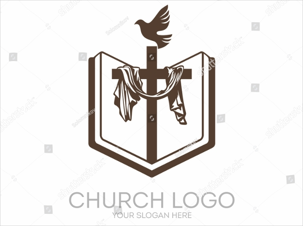 open bible cross dove church logo design