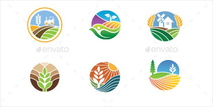 rounded farm vector logo designs