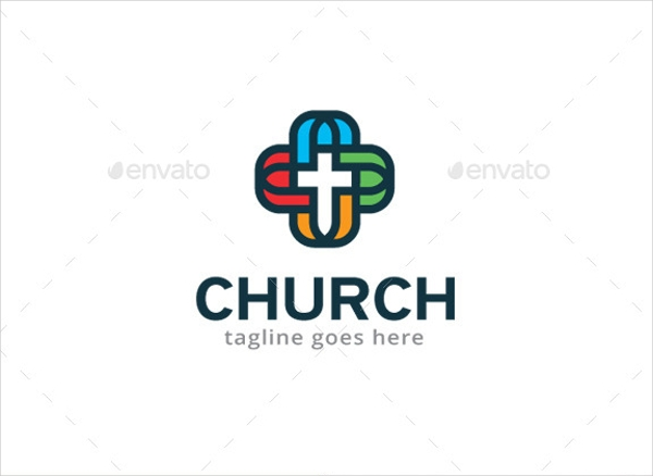 simple rounded four colored church logo